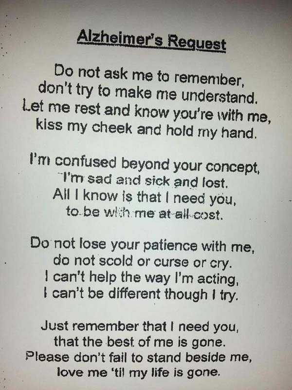 Alzheimer Patient's Request