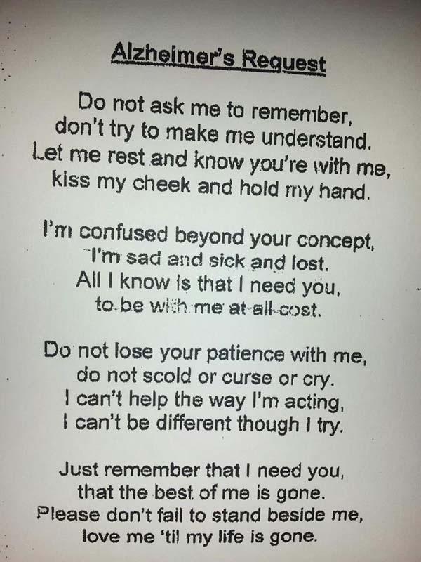 Alzheimer Patient's Request